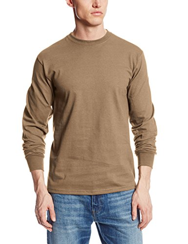 MJ Soffe Men's Long-Sleeve Cotton T-Shirt, Army Brown, X-large (Layered Shape Painted)