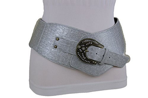 rn Fashion Faux Leather Belt Bling Big Buckle Silver Hip Waist Medium ()