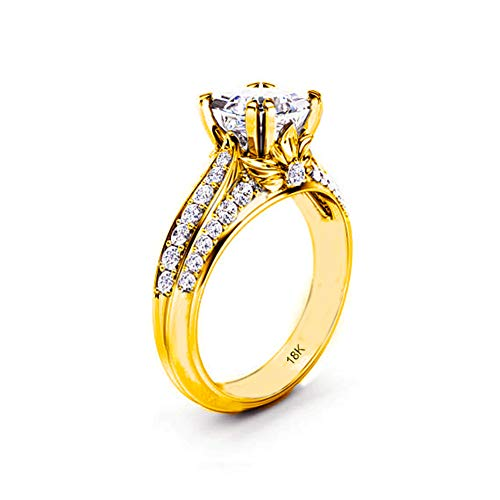 Engagement Wedding Ring Bridal Marriage Promise Women Gold 18K Carat Cubic Zirconia Lab Diamond AAAAA Stone Pave Statement Princess Cut Solitaire Vintage Valentine's Proposal Anniversary
