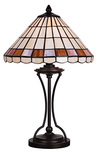 (Tiffany Style Stained Glass Table Lamp Decorative Cream Beige Dark Red Accent Lighting Crystal Mosaic Coffee Table Desk Bedroom Living Room Bedside Reading Night Light 20 x 12 inch Colored Dome Iron)