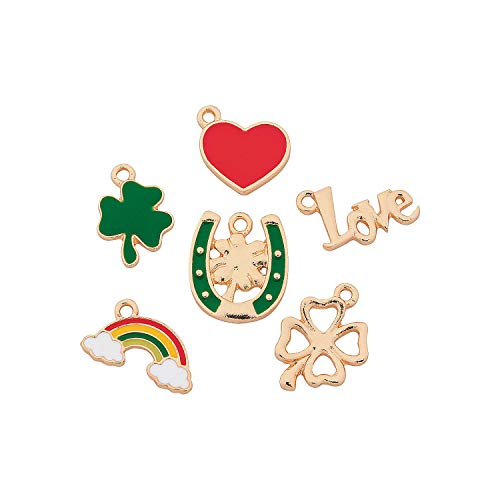 Fun Express - St Patricks Enamel Charms for St. Patrick's Day - Craft Supplies - Adult Beading - Charms - St. Patrick's Day - 12 Pieces