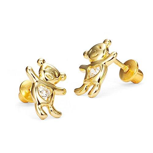 14k Bear Ring Teddy (14k Gold Plated Brass Teddy Bear Cubic Zirconia Screwback Girls Earrings with Sterling Silver Post)