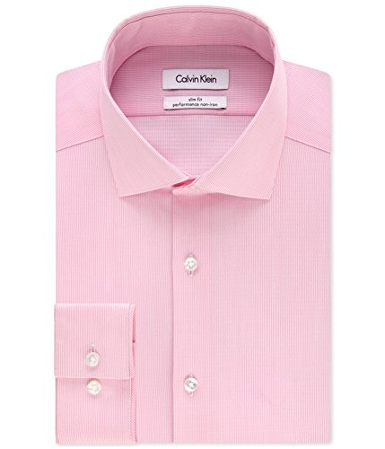 Calvin Klein Mens Striped Button up Dress Shirt Pink 17 - Big & Tall Calvin Klein Striped Dress Shirt