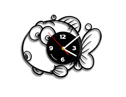 Little fish for kids vinyl record wall clock