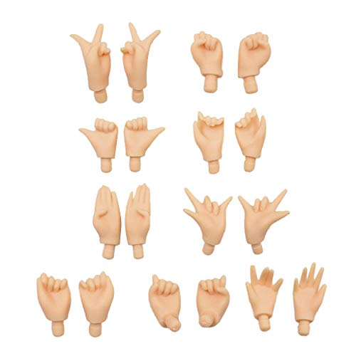 SM SunniMix 9 Pairs Customize Doll Joints Movable Hands Body Parts Dolls Replacement Hands Normal Skin