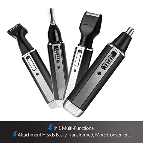 Nose & Ear Hair Trimmer,4 in 1 Nose Trimmer Mens Electric Hair Trimmer USB Rechargeable Grooming Shaving Eyebrow Sideburns Men's Facial and Body Hair Removal Facial Beauty Kit Tools (AY310) - 1 4in Grooming Comb
