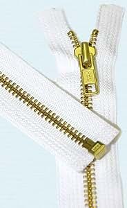 """23\"""" Medium Weight Jacket Zipper YKK #5 Brass ~ Separating ~ 501 White (1 Zipper/pack)"""