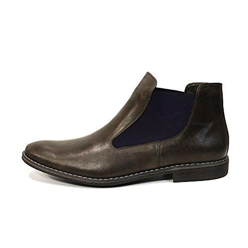 Modello Orazio - Handgemachtes Italienisch Leder Herren Grau Stiefeletten Chelsea Stiefel - Rindsleder Weiches Leder - Schlüpfen