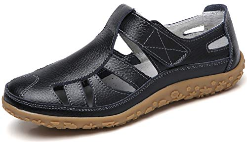YOOEEN Womens Summer Leather Loafers Moccasins Hollow Out Casual Flats Breathable Closed Toe Sandals Black (Toe Ons Slip Closed Footwear)