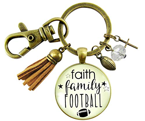 Faith Family Football Keychain Religious Themed Rustic Sport Jewelry For Women Cross Ball Charm Tassel Gift Card