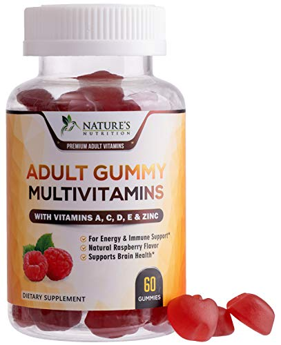 Adult Multivitamin Gummies with Vitamin C, D3 and Zinc for Immune Health Support - Natural Complete Daily Gummy Vitamin Supplement - Vegetarian Multi Vitamins for Men and Women - 60 Gummies