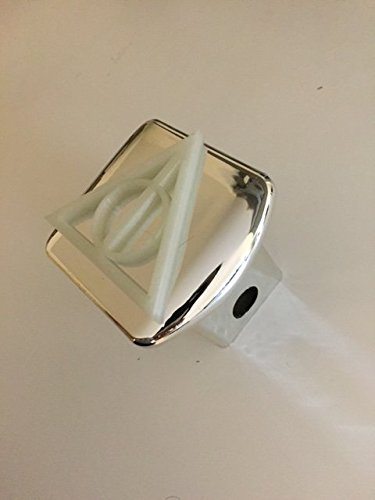 Deathly Triangle in 3D - 2 inch Trailer Hitch Cover Chrome White ( Glow in the Dark ) - Super Hero - Harry Trailer Potter 3d