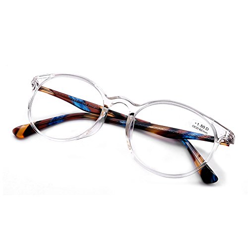 DOOViC Italy Design Fashion Reading Glasses for Women Men Stylish Clear Frames Readers with Case +1.00 Strength