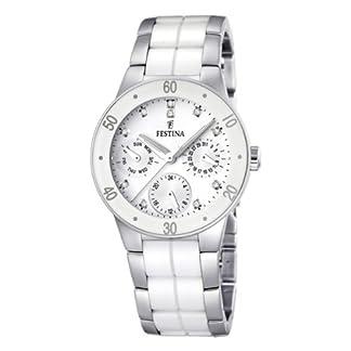 Festina F16530/3 – Reloj analógico de cuarzo para mujer con correa de acero inoxidable, color multicolor