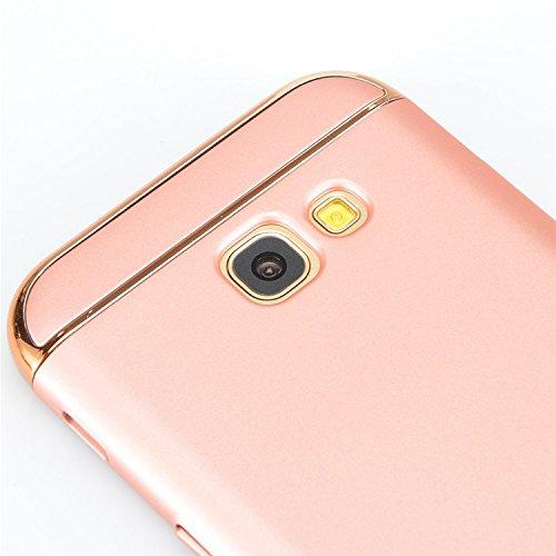 Samsung Galaxy A7 2017 Funda, Vandot Hybrid Diseño 3 en 1 Cáscara Dura de la PC Recubrimiento Metálico Marco Chapado Matte de Lujo Hard Caja de Telefono Duro Protección Cubierta Case Cover para Samsun Hybrid Rosa