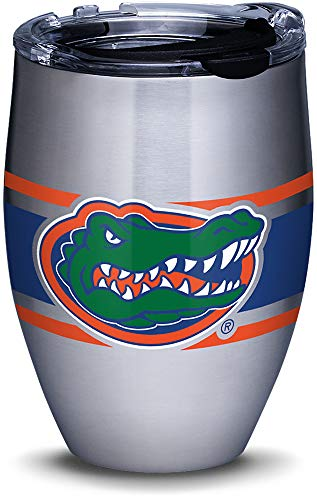 Tervis 1309974 Florida Gators Stripes Stainless Steel Insulated Tumbler with Clear and Black Hammer Lid, 12oz, Silver