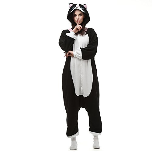 SHDiBa Black White Cat Kigurumi Women's Animal Onesie Pajamas Lounge Wear Sleepsuit Costume (Medium)