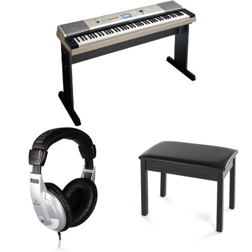 Yamaha YPG-535 88-Key Portable Grand Piano Value Pack with Matching Stand, Adapter, Sustain Pedal, Padded Bench and Headphones