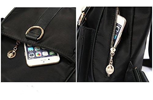 Moda College Mochilas - Landove Mujer de Casuanl PU Mochilas Escolares Bolsos mochila Azul Negro