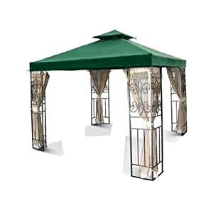 10' x 10' Replacement Gazebo Canopy Green Top Cover Patio Outdoor Shade 2-Tier