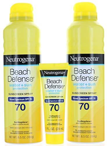 2 Neutrogena Beach Defense Broad Spectrum SPF 70 Sunscreen Spray 6.5 oz each + SPF 70 Lotion 1 oz