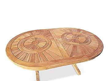 Amazonde Aus Massivem Teakholz Garten Terrasse Tisch Teak