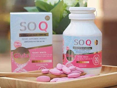 SOQ Gluta Collagen 10000mg .Reduces dark spots freckles Whitening skin L-gluta Armoni Vitamin Speeding White Clear Skin Pink Reduce acne,30Tablets