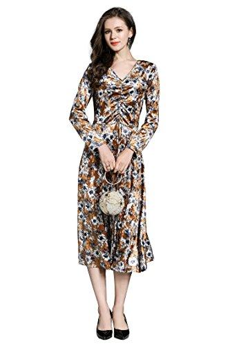 Elegante Ausschnitt Damen Blumendruck V Brautjungfer Midi Langarm Hochzeit Samt Abendkleider Ballkleider Ababalaya taqw5dt