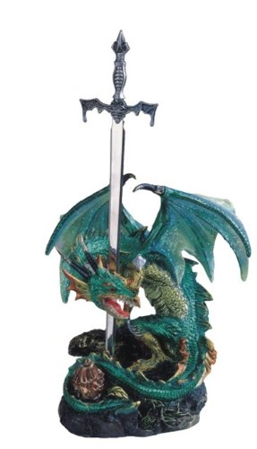 Sword Statue (StealStreet Green Dragon Standing with Sword on Rock Collectible Figurine Statue)