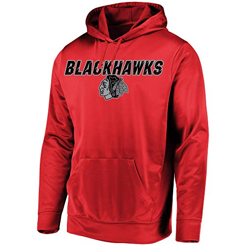VF Majestic Chicago Blackhawks Men's High Energy Performance Fleece Pullover Hoodie (Small)