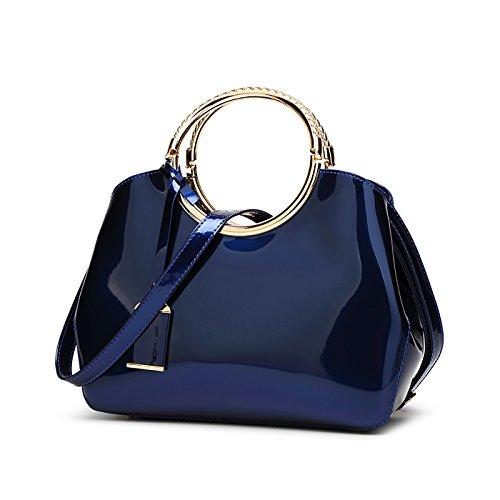 Tisdaini Bolso de las mujeres de cuero de la moda bolsa de cuero de charol Mensajero bolso de las señoras bolso de la bolsa azul