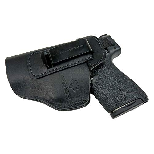 Relentless Tactical The Defender Leather IWB Holster - Made in USA - for S&W M&P Shield - Glock 17 19 22 23 32 33/Springfield XD & XDS/Plus All Similar Sized Handguns - Black - Left Handed