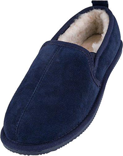 Lambland Mens Sheepskin Lined Slipper Boots With Hard Wearing Sole - Brown, Navy, Chestnut Navy