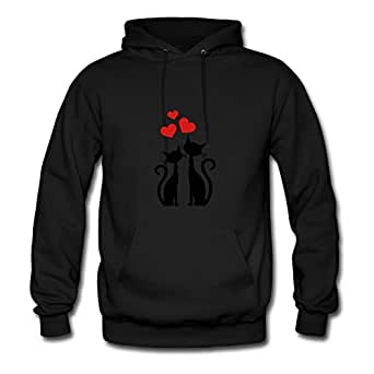 Styling X-large Sweatshirts Black Cats With Hearts Image Women Organic Cotton S