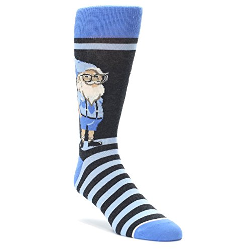 Statement Sockwear Trendy Gnomes Men's Dress Socks (Blue Nerdy Gnome) ()