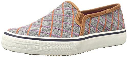 Keds Women's Double Decker Windowpane Plaid Fashion Sneaker, Peacoat Navy, 5.5 M US