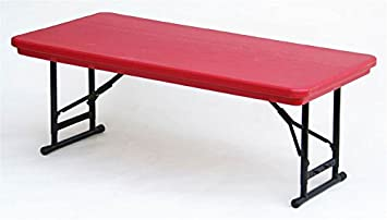Adjustable Height Folding Table In Red W Short Leg (Red)