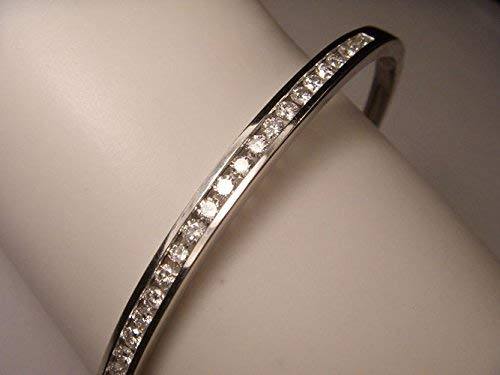 - Gorgeous Estate 14K White Gold Diamond Bangle Bracelet