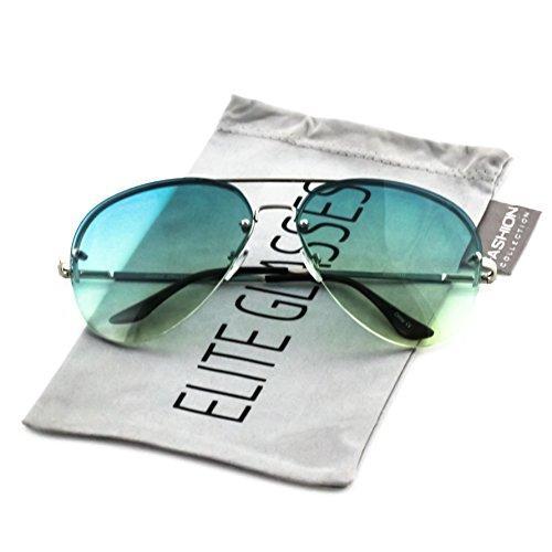 Elite Gradient Oceanic Lens Oversized Rimless Metal Frame Unisex Aviator Sunglasses (Silver Frame/Aqua Green Lens, - Frames Glasses Aqua