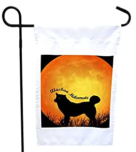 Rikki Knight Alaskan Malamute Dog Silhouette by Moon House or Garden Flag with 11 x 11-Inch Image, 12 x 18-Inch