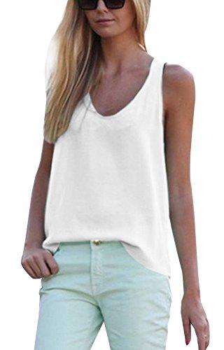 Tops Femminile Moda Tumblr Scollo shirt Unita Tinta T Senza V Vest Camicie Canotte Bianco Estivo Bluse Maniche FqUdYvY