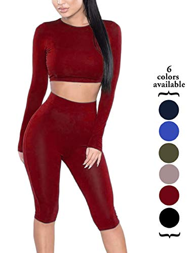Jumpsuit Womens Package - Amilia Womens Sexy Long Sleeve Crop Tops High Waist Leggings 2 Piece Bodycon Set Casual Outfit Tracksuit (L, Wine Red)