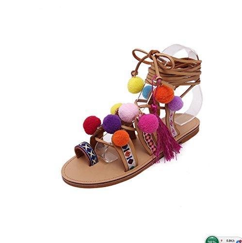 Favidol Femmes Bohême Pom Pom Gladiator Attacher Sandale Plate
