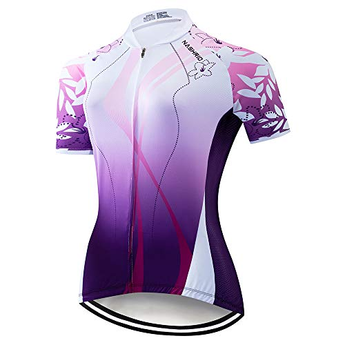 NASHRIO Women's Cycling Jersey Short Sleeve Road Bike Biking Shirt, Full-Zip Tops Bicycle Clothes - Breathable and Quick-Dry with 3 Pockets (Purple) ()