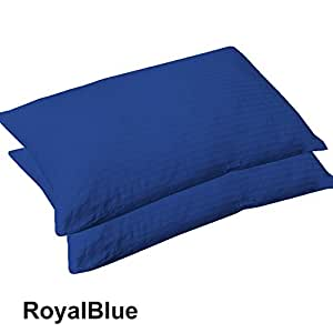 "TWO { 2 } Piece Body Pillow Cases 20""x54"" Size in Royal Blue Color with Stripe Pattern and 550 Thread Count 100% Egyptian Cotton"