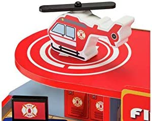 Amazing Crystal Gifts Chad Valley Large Wooden Firehouse With A Vehicle Ramp, A Fully Detailed Play Mat And Battery Operated Emergency Lights