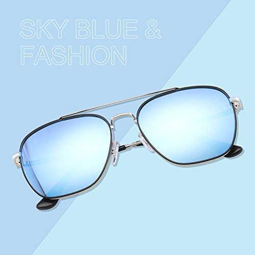 5 Elegear Sunglass Aviator Bleu color wTRY1EqR