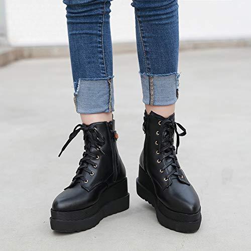 Chou Pour Six Pente Haut Bottes Épais 8 Hbdlh bas Chaussures Femmes Femelle De Talon Trente Black Cravate Cm Mon 6UUg5wq