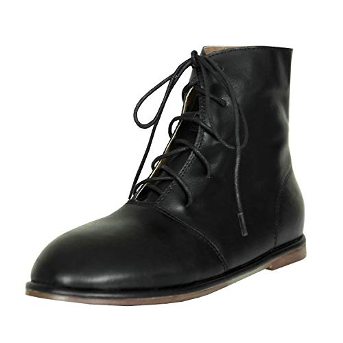87826df26a79 Pxmoda Womens Lace Up Flat Heel Leather Ankle Boots Round Toe Combat Boots