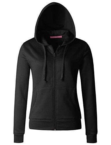 Fleece Zip Hoodie Jacket (Regna X Women Ultra Soft Breathable Full-Zip Fleece Long Sleeve Jacket Black S)